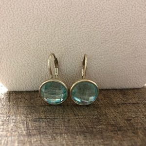Baby Blue Gold Tone Earrings
